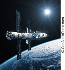 Space Shuttle And International Space Station Orbiting Planet Earth