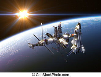 Space Shuttle And Space Station In The Rays Of Sun