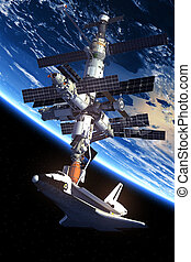 Space Shuttle And Space Station Orbiting Earth. 3D Scene.