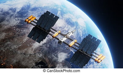 Space shuttle and space station orbiting realistic earth monitoring planet. International Space Station revolving over ocean and mainland, exploration mission. Images from NASA