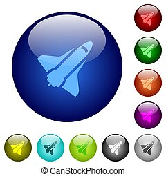 Space shuttle color glass buttons