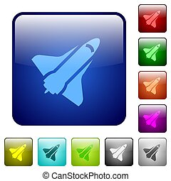 Space shuttle color square buttons