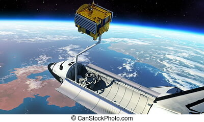Space Shuttle Deploying Communication Satellite. 3D Animation.