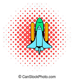 Space shuttle icon, comics style - Space shuttle icon in...
