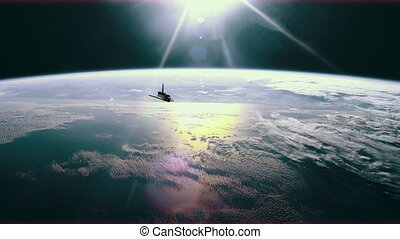 Space shuttle in orbit over earth. 4K. - 4K animation of the...