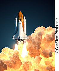 Space Shuttle In The Clouds Of Fire