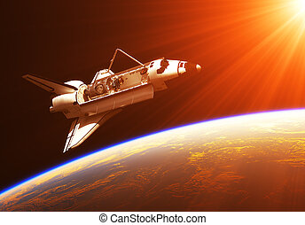 Space Shuttle In The Rays Of Rising Sun