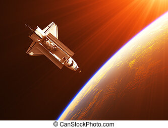 Space Shuttle In The Rays Of Sun