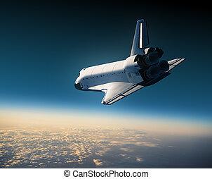 Space Shuttle Flying In The Sky. 3D Scene.
