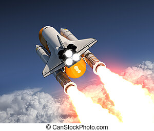 Space Shuttle Launch Above The Clouds. 3D Illustration.