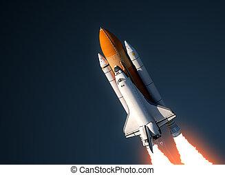 Space Shuttle Launch In Sky. 3D Scene.