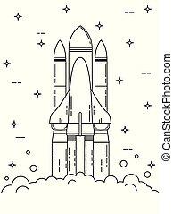 Space Shuttle Launch Line Art