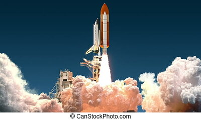 Space Shuttle Launch. Realistic 3D Animation.