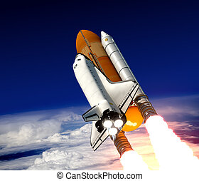 Space Shuttle Launch - Space Shuttle Take Off. Realistic 3D...