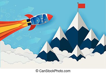 space shuttle launch to the sky go to goal to achieve success. start up business finance concept. competing for success and corporate goal. creative idea. leadership. icon. vector illustration