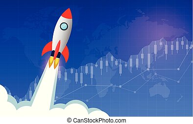 space shuttle launch to the sky, start up new idea, financial business planning concept. Forex trading and to achieve success and higher in the enterprise. Modern ideas and vector illustrations
