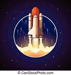Space Shuttle Launch. Vector illustration with spaceship and space background