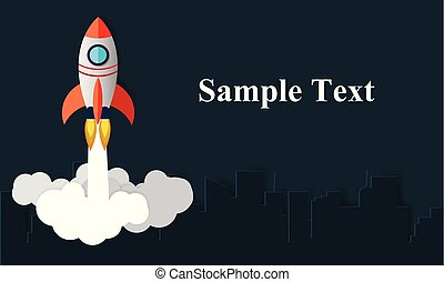 Space Shuttle launches into the sky on the left. The right side for the article. There is a city behind the concept of finance, business, vector, art and paper illustration.
