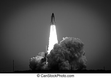 Black and white view of launching Space Shuttle Endeavor flight STS-134, Cape Canaveral, U.S.A.