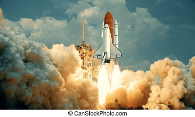 Space Shuttle launching in slow motion. Elements of this...