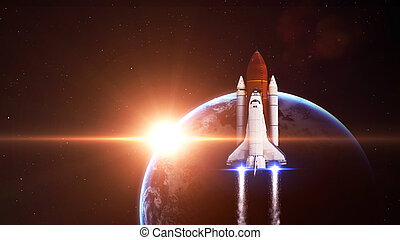 Space shuttle Leaving Earth - Elements of this Image Furnished By NASA