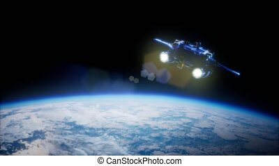 Space Shuttle Orbiting Earth - Space Shuttle above the...