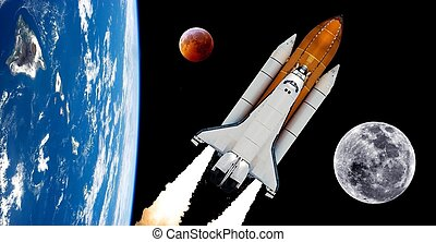Space shuttle rocket launch moon planet spaceship background. Elements of this image furnished by NASA.