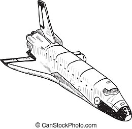Space shuttle sketch - Doodle style space shuttle...