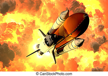 Space Shuttle Takes Off In The Clouds Of Fire