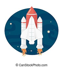 Space Shuttle takes off, vector illustration