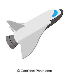 Space shuttle taking off cartoon icon
