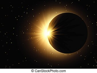 space sky background with solar eclipse 0410