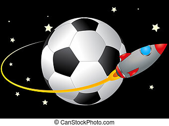 space soccer - illustration of spacecraft that orbits a...