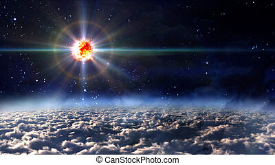 space star planet explosion - the new born star explosion at...