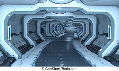 Space station - 3D illustration of inside space station