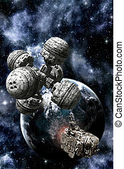 Space station and cargo spaceship with alien planet 3D...