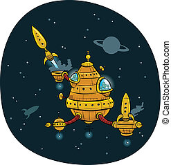 Space Station - Rocket traffic at a retro, cartoon space...