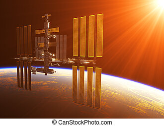 Space Station In The Rays Of Sun
