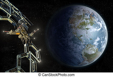 Space station mega structure in near Earth orbit