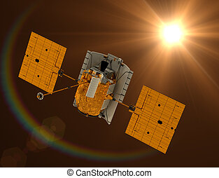 """Space Station """"Messenger"""" Flying Towards The Sun"""