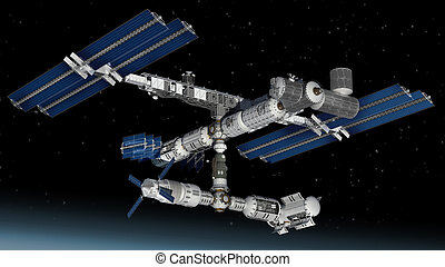 Space station satellite - Satellite Spacestation flying over...