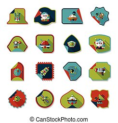 Space stickers banner flat design background set, eps10