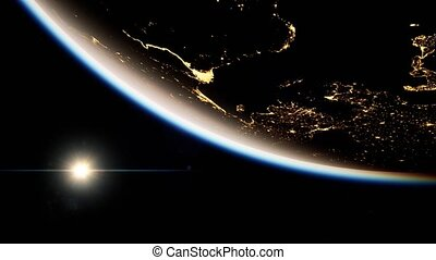 Space, Sun and planet Earth at Night