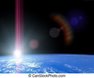 Space sunrise - Earth as seen from space with sunrise