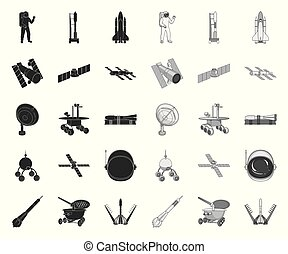Space technology black. mono icons in set collection for design. Spacecraft and equipment vector symbol stock web illustration.