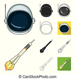 Space technology cartoon, black, flat, monochrome, outline icons in set collection for design. Spacecraft and equipment vector symbol stock web illustration.
