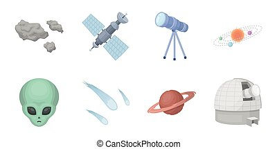 Space technology icons in set collection for design. Spacecraft and equipment vector symbol stock web illustration.