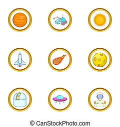 Space technology icons set, cartoon style