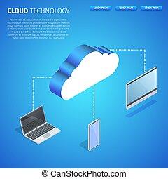 space., tecnologia, quadrato, copia, nuvola, bandiera