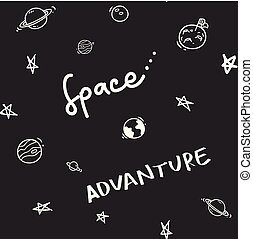 Space theme doodle seamless background